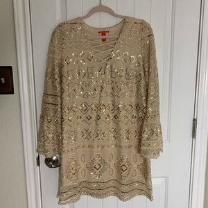 GOLD LONG SLEEVE SEQUENCED DRESS W/LOW V NECK